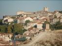 Vista del conjunto histórico desde Castilviejo. Estado antes de la restauración de las murallas.