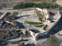 Vista aérea de la explanada del castillo. Estado después de su restauración.