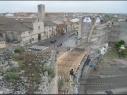 Tramo de la muralla desde la puerta de San Basilio al Castillo. Estado durante de su restauración.